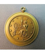 Antique Solid 14k Yellow Gold Pendant 8.2g History & Civics 1933 Spinnin... - $346.49