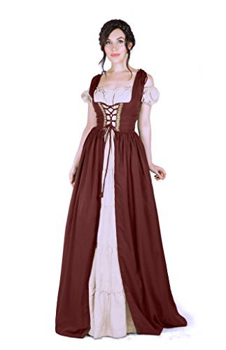 Renaissance Medieval Irish Costume Over Dress & Boho Chemise Set (L/XL, Burgundy