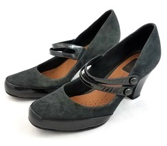 Clarks Artisan Mary Janes Dark Charcoal Gray Suede Heels Shoes Womens 8 ... - $39.41