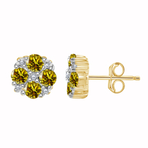 1.50 Ct Citrine & Diamond 925 Silver Womens Stud Earrings 10k Yellow Gol... - $48.80