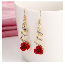 Rose Flower BEFORE Christmas Long Tassel Drop Earrings For Women Fashion... - $7.92