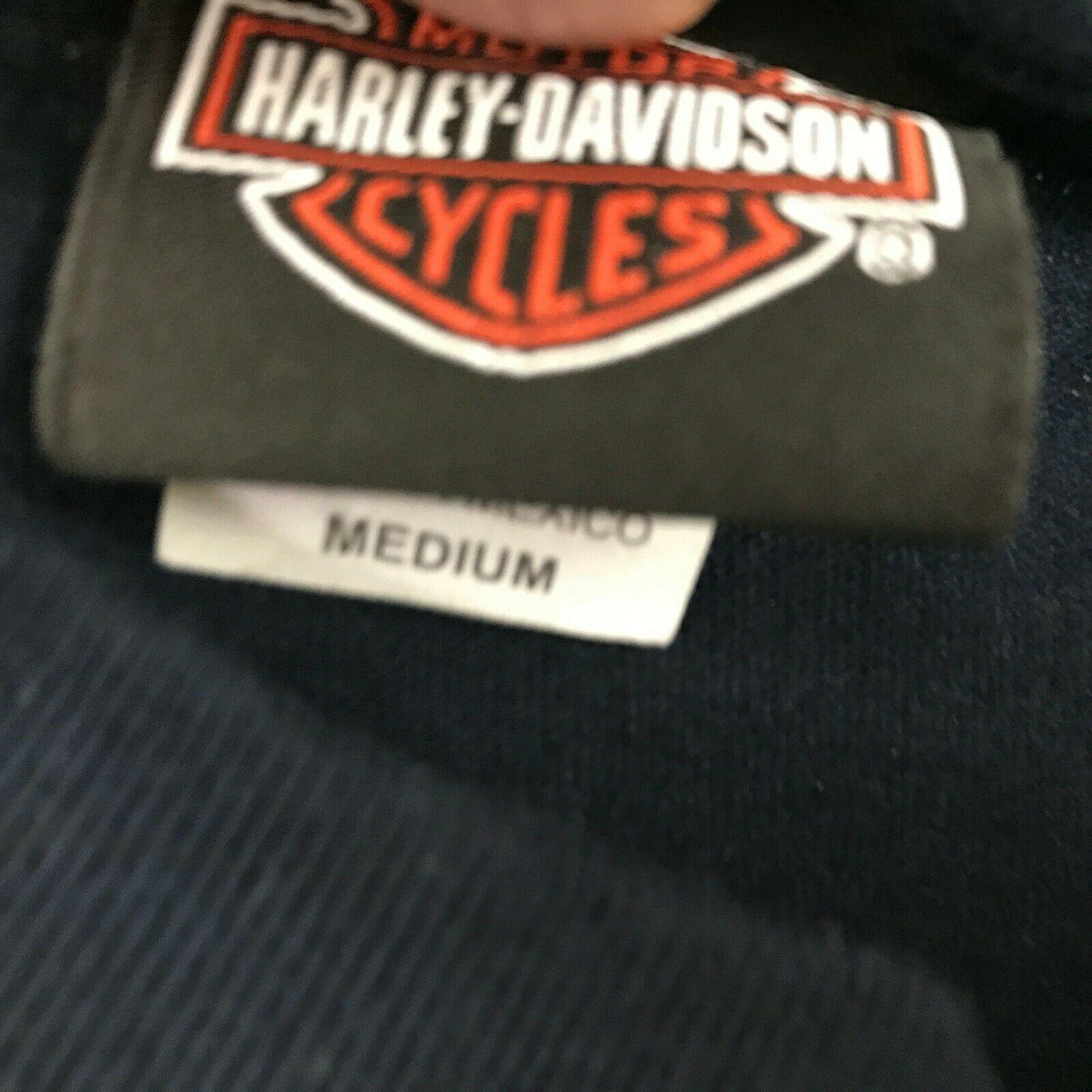 Harley Davidson Imagen Retro Camisa Dos Caras Azul Marino Motero Camiseta TALLA image 7