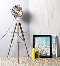 Nauticalmart Designer Handmade Wood Silver Finish Tripod Floor Lamp - $197.01