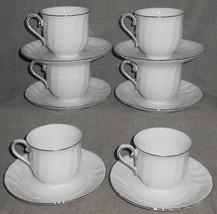 Set (6) Mikasa WEDDING BAND PLATINUM PATTERN Cups and Saucers - $59.39