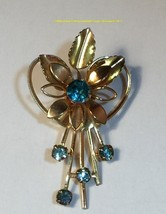 Gold Tone Brooch Light Blue Rhinestones Vintage Collectible Gift - $7.70