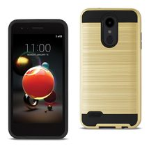 Reiko LG Aristo 2 Hybrid Metal Brushed Texture Case In Gold - $8.99+