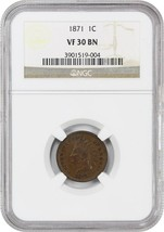 1871 1c NGC VF30 BN - Scarce date - Indian Cent - Scarce date - $295.85