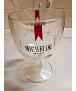 Vintage 1970's Michelob Beer Goblet Heavy Glass Footed Thumbprint Beer Mug - $16.82