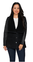H by Halston Sweater Knit Collar Jacket with Leather Sleeves, Size 16, M... - $89.09