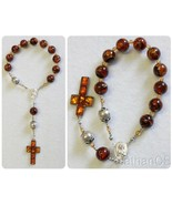 Catholic Travel Rosary Chaplet Vintage Cognac Baltic Amber and Sterling ... - $219.78