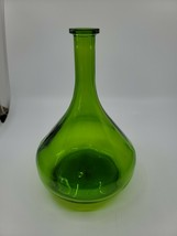 "Green Glass Bottle Neat Shape Marked 2009 On Bottom 10"" Tall - $21.99"