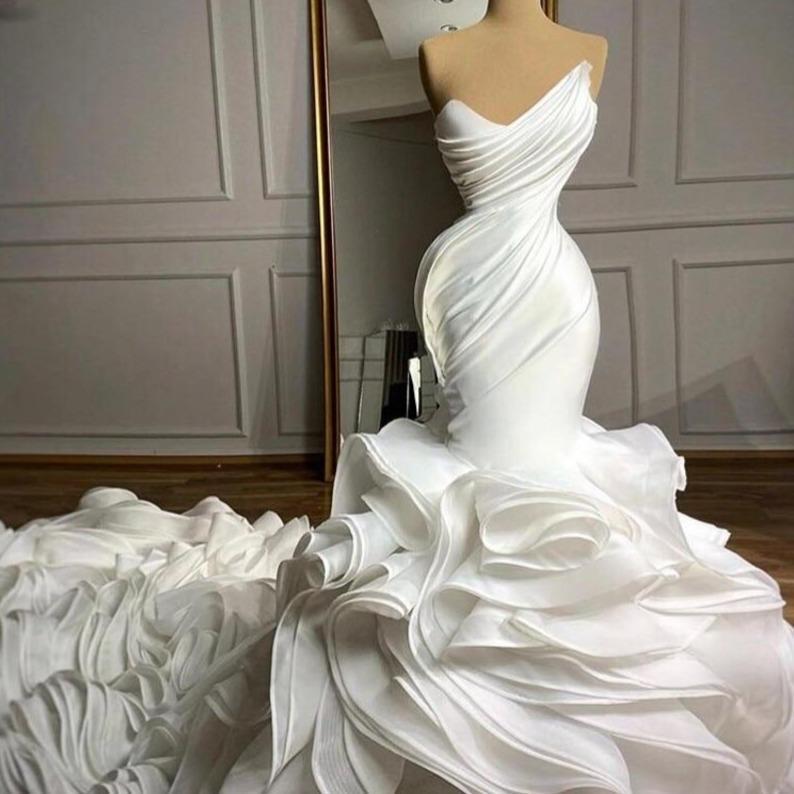 Rival robe de mari e mermaid wedding dresses sweetheart organza ruffles skirt custom made bridal