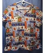 White Cross Scrub Top Halloween Pumpkins Owl Bats Pattern! Sz Large 100%... - $14.02