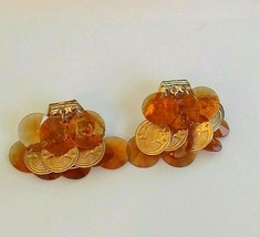 VINTAGE SIGNED HOBE  CLIP EARRINGS Orange & Goldtone w Round Egyptian Discs - $59.00