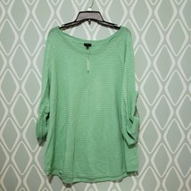 Talbots Woman Plus Size 3/4 Sleeve Green Cotton Textured Sweater 3X NEW - $49.49