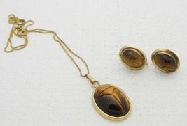 VTG AMCO 1/20 12k Gold Filled Tiger's Eye Scarab Necklace Earring Set - $99.00