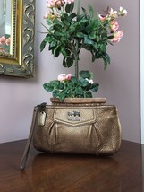 Coach  Wristlet Bag Madison Bronze Pebble Leather Large B21 - $49.49