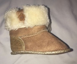 Koala Baby Faux Fur Glitter Boots Size 2 Tan - £6.81 GBP