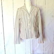 Loft Blazer 12 stripes pink brown cream cotton - $24.70