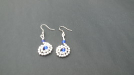 COLOMBO - fun dangle earrings with glass beads formed in to a rosetted s... - $15.00
