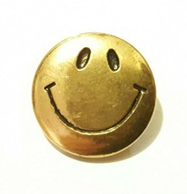 "Vintage 1970s SMILIE FACE Metal Button 1/2"" round - $9.85"