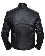 Mens X Logo Logan Black and Blue Padded Wolverine Costume Biker Leather Jacket image 3