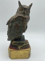 "Vintage Owl On Books Figurine Heavy Resin Décor Statue Bird 8"" Antique  - $45.00"