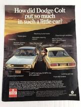 Dodge Colt By Chrysler Vtg 1977 Print Ad - $9.89