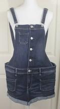 Guess Jeans Women's Blue Denim Button Up Shortalls Rolled Cuff Short Ove... - $39.95