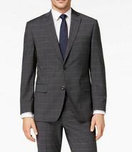 New Mens Michael Kors Charcoal Windowpane Wool Sport Coat Jacket 40 Short - $59.39