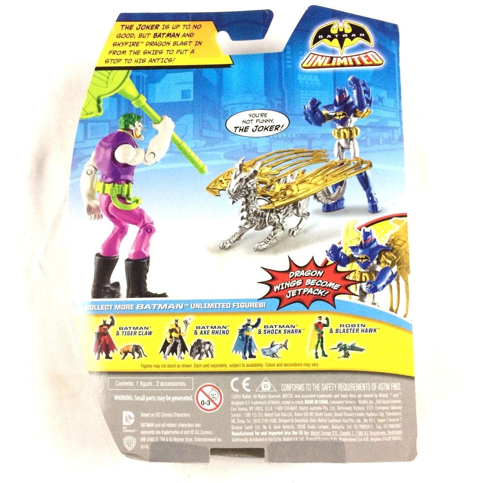 Batman Unlimited Batman and Skyfire Dragon Action Figure 2014 Mattel Sealed