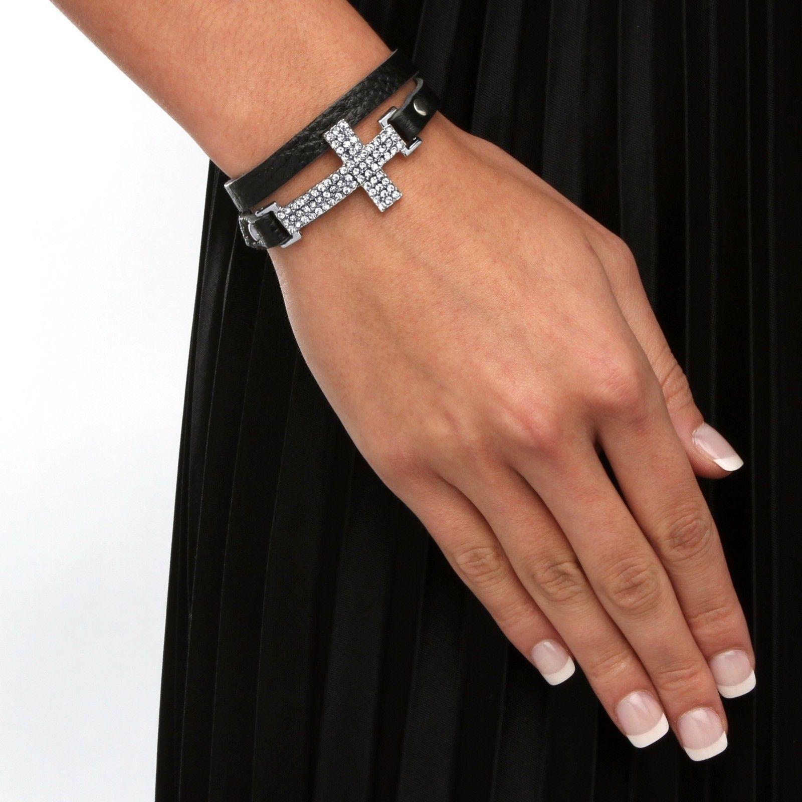 "PalmBeach Jewelry Crystal Silvertone Leather Cross Bracelet 6""-8"""