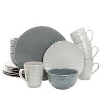 Elama Tahitian Pearl 16 Piece Stoneware Dinnerware Set in Slate and Ston... - $80.85