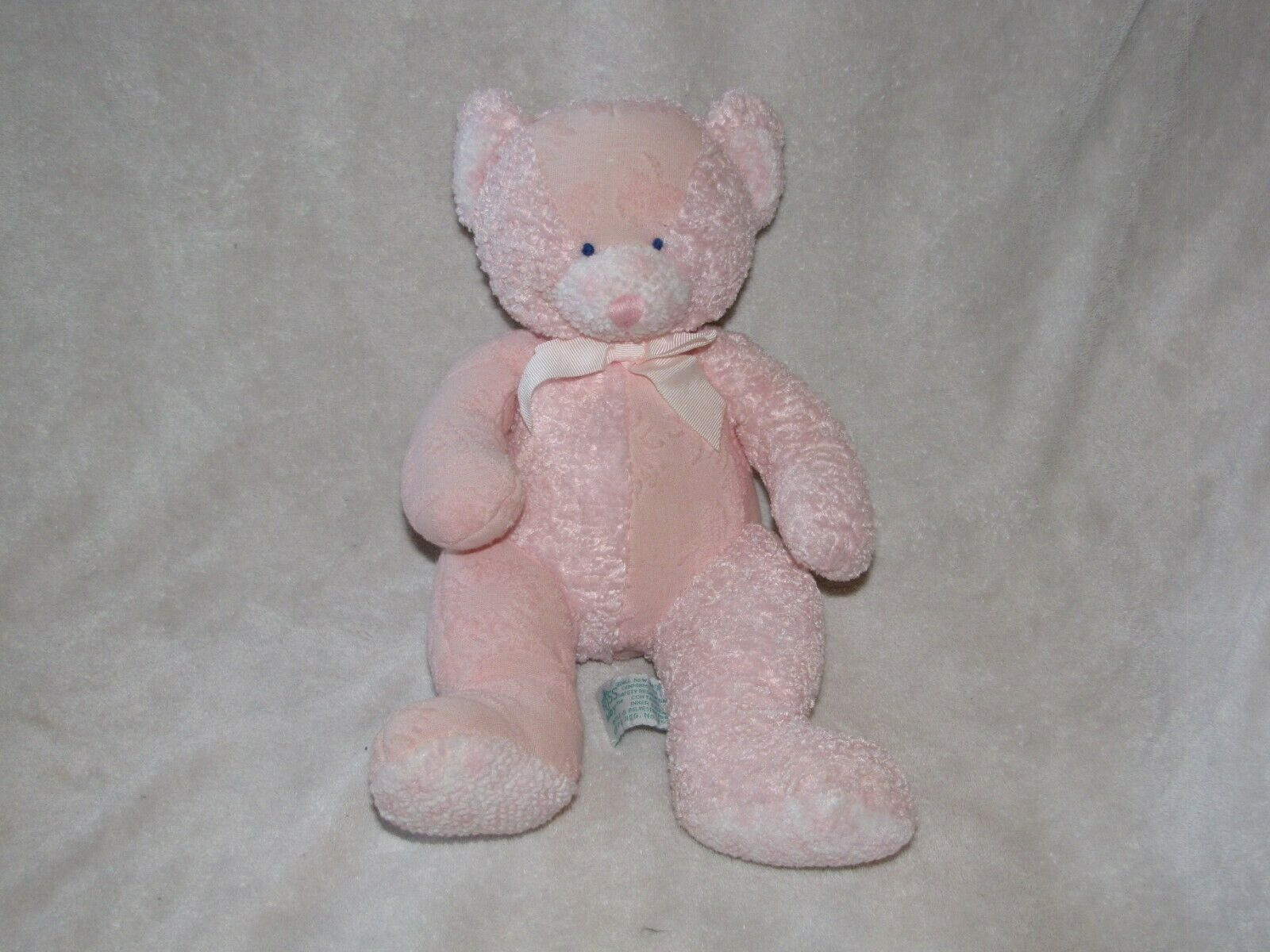 """Hush A Bye Russ Baby Pink Stuffed Teddy Bear Rattle 10"""" Girl Chenille Floral - $19.79"""