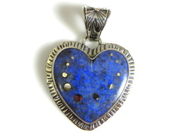 Sterling Silver Handmade Denim Lapis Heart Pendant Contemporary Unique J... - $112.81