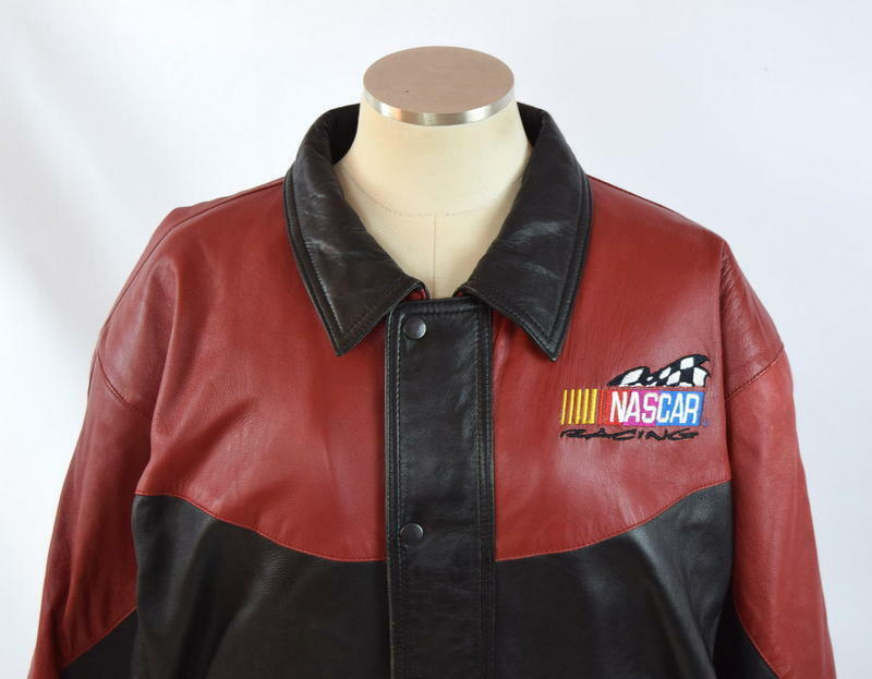 Vtg 90s Nascar Racing Soft Black & Red Luxe Leather Retro Bomber Jacket Mens S image 5