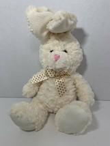 Best Made Toys cream white plush bunny rabbit polka dot brown bow Easter toy - $12.86