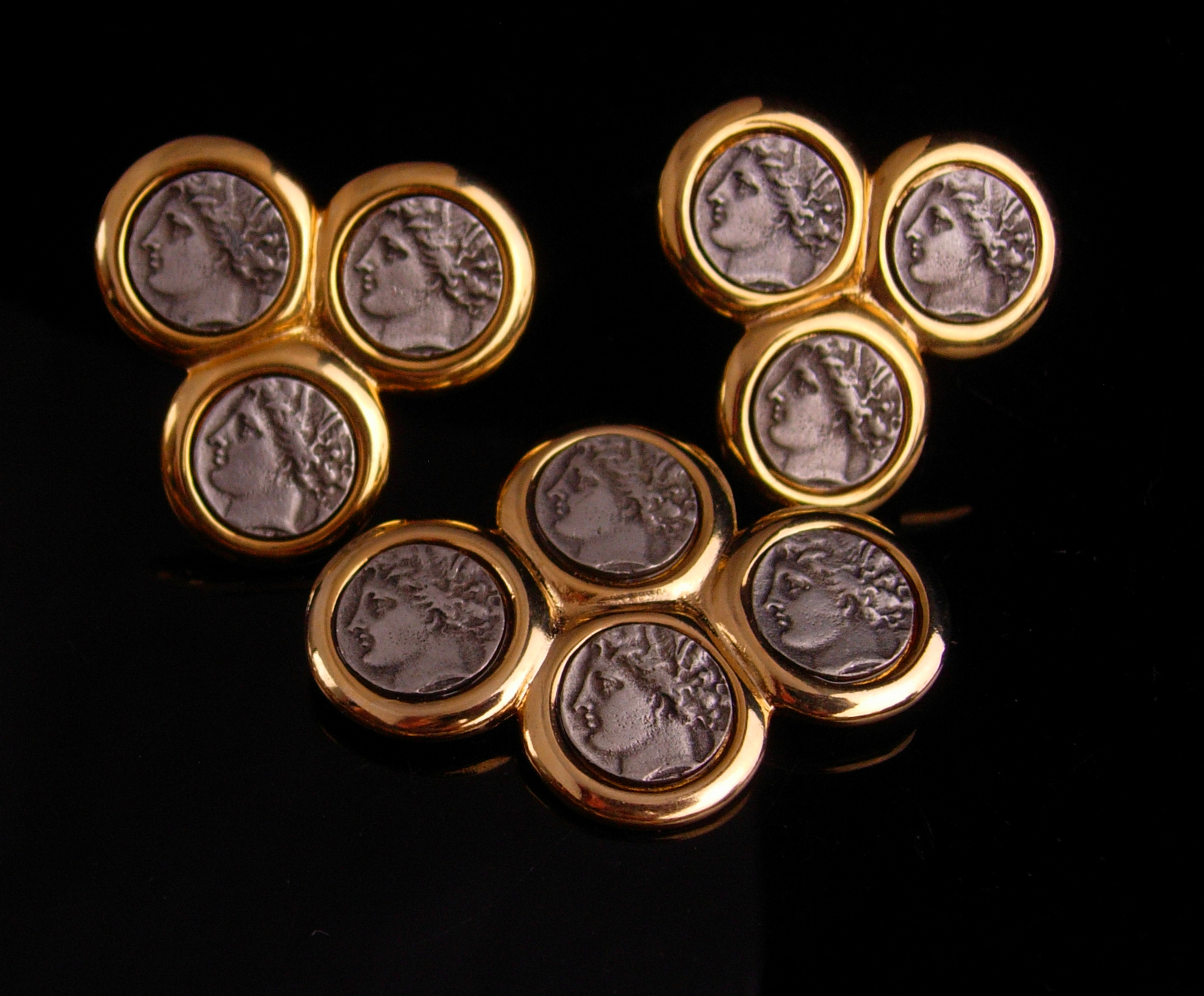 KJL Vintage Brooch & earrings - Ancient coin set - silver Roman coin earrings -