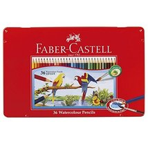 Faber-castell Watercolor Pencils Flat Cans 36 Color Set TFC-WCP/36 C - $22.00