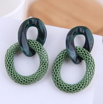 Women Fashion Earrings Exaggerated Acrylic Earrings Chain Earrings Mesh ... - $25.99