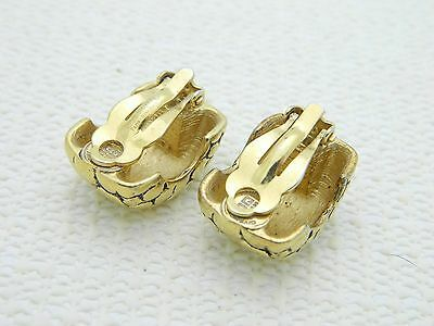VTG GIVENCHY Paris New York Gold Tone Large Animal Print Skin Hoop Clip Earrings