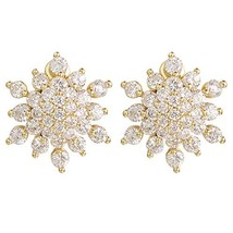 Yoursfs Clip Earrings for Women 18k Yellow Gold Plated Gorgeous Crystal ... - $12.99