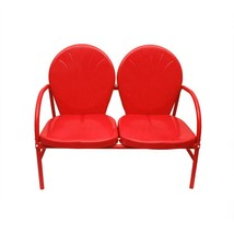 Rich Pacific Vibrant Red Retro Metal Tulip 2-Seat Double Chair - $162.10