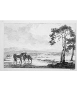 1801 ORIGINAL ETCHING Print by Howitt - Drinking Horses Middle of River - $17.99