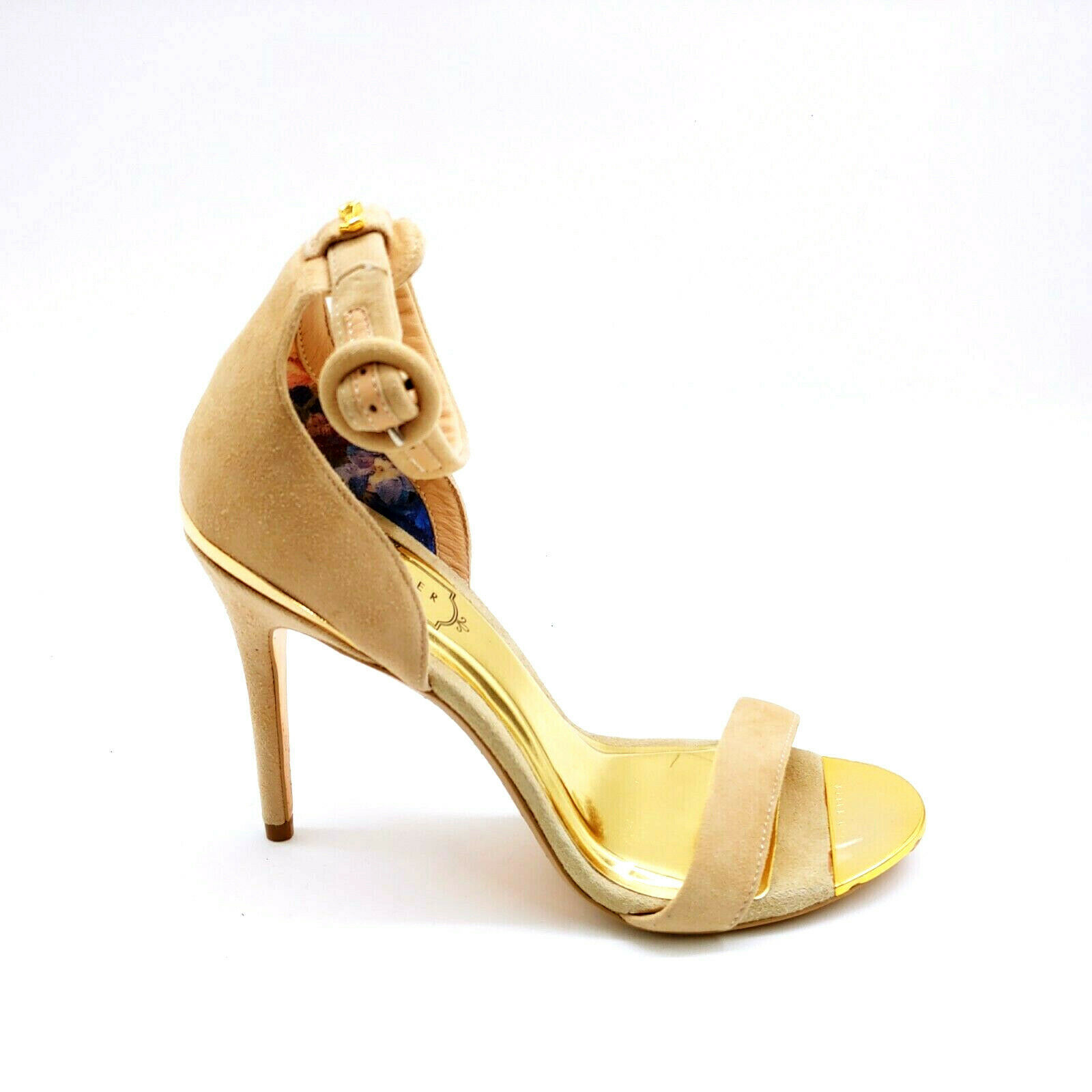 Primary image for Ted Baker Womans Rynne Ankle Strap High Heels Beige Suede Open Toe Sz 6 M