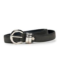 Modern elegant full grain belt on vegan leather with round buckle single... - $65.00