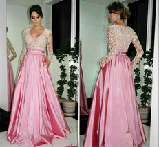 Long Sleeves Lace Prom Dress,Deep V-neck Pink Graduation Dress,Prom Gowns - $179.00