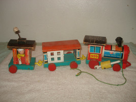 Vintage 1963 Fisher Price Huffy Puffy wood train pull toy #999 parts 3 cars - $19.79