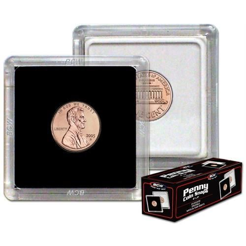 (20) BCW 2 x 2 COIN SNAPS - PENNY - BLACK