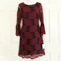 Tommy Hilfiger Womens Red Lace Floral Party Dress Bell Sleeve 6 MSRP $139 - $35.75